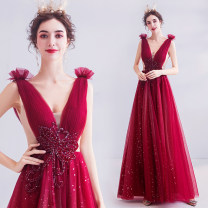 Dress / evening wear Wedding adult party company annual meeting performance S XS M L XL XXL XXXL gules sexy longuette middle-waisted Winter of 2019 Self cultivation Deep collar V Bandage 18-25 years old 5776A Sleeveless Diamond ornament Princess tribe Polyethylene terephthalate (polyester) 100%