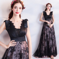 Dress / evening wear Wedding adult party company annual meeting performance S XS M L XL XXL XXXL black Intellectuality longuette middle-waisted Spring of 2018 Fall to the ground Deep collar V Deep V style 18-25 years old Princess tribe Polyethylene terephthalate (polyester) 100%
