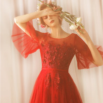 Dress / evening wear Wedding adult party company annual meeting performance XS S M L XL XXL XXXL gules fashion longuette middle-waisted Spring of 2018 Fall to the ground One shoulder zipper 18-25 years old elbow sleeve Embroidery Princess tribe pagoda sleeve Polyester 100% Hand embroidery
