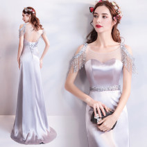 Dress / evening wear Wedding adult party company annual meeting performance S XS M L XL XXL XXXL grey fashion longuette middle-waisted Spring of 2018 fish tail One shoulder Bandage 18-25 years old 9688- Diamond ornament Princess tribe Polyethylene terephthalate (polyester) 100% Resin drill