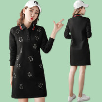 Sports dress ZP-7835 female Vekdo / weikedu Pink Black Spring 2021 Long sleeves Socket Moisture absorption, perspiration and ventilation Lapel Offset printing with color contrast pattern cotton Sports & Leisure Sports life