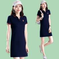 Sports dress ZDM-8616 female Vekdo / weikedu 8616 - Royal Blue 8616 - Black 8678 - Royal Blue 8678 - Black 8678 - Pink 8626 - Royal Blue 8626 - Black 8626 - Pink Summer 2021 Short sleeve Socket Moisture absorption, perspiration and ventilation Lapel Pattern letter smooth embroidery cotton Sports life