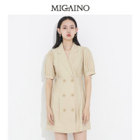Dress Spring 2021 Khaki 150/58A/XS 155/62A/S 160/66A/M 165/70A/L 170/74A/XL Short skirt singleton  elbow sleeve tailored collar High waist other Three buttons A-line skirt routine 25-29 years old Type A Migaino / manyanu Button ML14DA669 30% and below polyester fiber