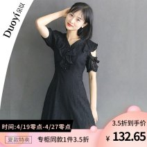 Dress Summer 2021 White, black, blue sky S size (90-100kg recommended) Mid length dress singleton  Short sleeve Sweet V-neck middle-waisted Decor zipper other other Others 18-24 years old Duoyi / flower 91% (inclusive) - 95% (inclusive) other Cellulose acetate