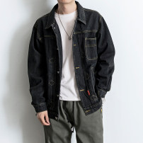 Jacket Other / other Youth fashion Black grey M,L,XL,2XL routine standard Other leisure spring J855-W16 Cotton 90% polyethylene terephthalate (polyester) 10% Long sleeves Wear out Lapel Japanese Retro youth routine Single breasted 2019 Cloth hem washing Closing sleeve other Denim Inlay decoration