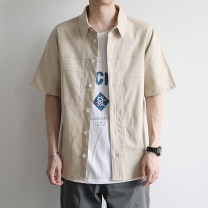 shirt Youth fashion Others M,L,XL,2XL Beige routine Pointed collar (regular) Short sleeve standard daily summer youth Cotton 100% Japanese Retro 2020 Solid color washing cotton Multiple pockets More than 95%