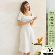 Dress Summer 2020 Black, white XL,L,M,S,XS Mid length dress singleton  Short sleeve commute square neck High waist Solid color Socket other puff sleeve 25-29 years old Type X Van schlan Retro Z201001 91% (inclusive) - 95% (inclusive) polyester fiber