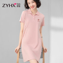 Dress Summer 2021 Black powder blue pink M L XL XXL Mid length dress singleton  Short sleeve commute Polo collar Loose waist Solid color Socket A-line skirt routine 25-29 years old Type H Free breath Embroidery Z1XT6A004BQ More than 95% cotton Cotton 94.7% polyurethane elastic fiber (spandex) 5.3%