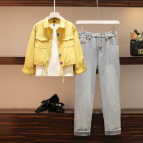 Women's large Winter 2020, autumn 2020 White T + coat, jeans M suggests 80-100kg, l 100-120kg, XL 120-143kg, 2XL 145-168kg, 3XL 170-200kg Three piece set commute easy thick Cardigan Long sleeves Solid color Polo collar have cash less than that is registered in the accounts cotton routine pocket