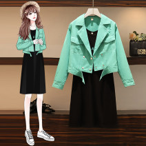 Women's large Autumn 2020 Graph color M for 90-105 kg, l for 108-125 kg, XL for 125-145 kg, XXL for 145-165 kg, XXXL for 165-190 kg Two piece set commute easy moderate Cardigan Long sleeves Solid color Polo collar have cash less than that is registered in the accounts Denim, cotton routine Button