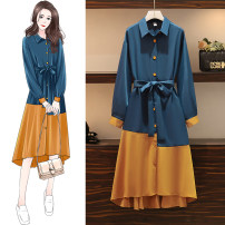 Women's large Autumn 2020 blue Dress singleton  commute easy moderate Socket Long sleeves Solid color Polo collar Medium length polyester fiber Collage routine belt longuette other bow