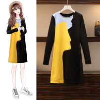 Women's large Spring 2021 Graph color M for 90-105 kg, l for 108-125 kg, XL for 125-145 kg, XXL for 145-165 kg, XXXL for 165-190 kg Dress singleton  commute easy moderate Socket Long sleeves Solid color Korean version Crew neck Medium length Three dimensional cutting routine Medium length