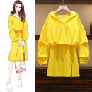 Women's large Autumn 2020 yellow M suggests 80-100kg, l 100-120kg, XL 120-143kg, 2XL 145-168kg, 3XL 170-200kg singleton  commute easy moderate Socket Long sleeves Solid color Hood routine Cotton, others routine Bandage Medium length
