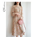 Dress Spring 2021 Green apricot S M L longuette singleton  Long sleeves commute V-neck High waist Broken flowers Socket A-line skirt routine Others 25-29 years old Type A Chartres Korean version Lace up zipper print C21AD903 More than 95% Chiffon polyester fiber Polyester 100%