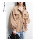 short coat Autumn of 2019 S M L Black Khaki Long sleeves routine routine singleton  easy puff sleeve stand collar zipper Solid color Chartres 96% and above Pocket button zipper C19CX183 polyester fiber Polyester 100%
