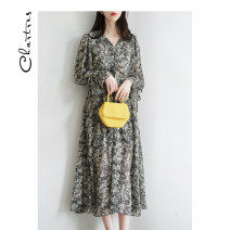 Dress Spring 2021 black S M L longuette singleton  Long sleeves commute V-neck High waist Broken flowers Socket A-line skirt routine Others 25-29 years old Type A Chartres Korean version printing C21AD902 More than 95% Chiffon polyester fiber Polyester 100%