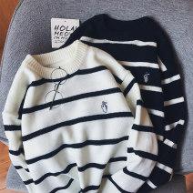 T-shirt / sweater Zijun Youth fashion White, black M,L,XL,2XL routine Socket Crew neck Long sleeves autumn easy 2019 leisure time Youthful vigor teenagers routine stripe Regular wool (10 stitches, 12 stitches)