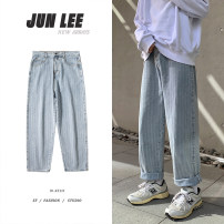 Jeans Youth fashion Zijun M,L,XL,2XL Light blue, > Click to view size < (select color in front) routine trousers Other leisure spring teenagers Medium low back Loose straight tube like a breath of fresh air 2021 Little straight foot zipper