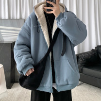 Sweater Youth fashion Zijun Black, gray, blue, > Click to view size < (select color in front) M,L,XL,2XL Solid color Cardigan routine Hood winter easy leisure time teenagers tide routine cotton pocket No iron treatment Side seam pocket zipper