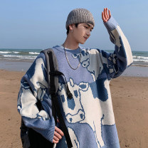 T-shirt / sweater Zijun Youth fashion Blue, white, green, > Click to view size < (select color in front) M,L,XL,2XL routine Socket Crew neck Long sleeves winter Straight cylinder 2020 leisure time teenagers routine Cartoon animation No iron treatment Regular wool (10 stitches, 12 stitches)
