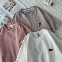 T-shirt Youth fashion White, pink, khaki, blue, light blue, green, > Click to view the size < (select the color before) routine M,L,XL,2XL Zijun Short sleeve Crew neck easy Other leisure summer teenagers routine like a breath of fresh air 2020 Geometric pattern Creative interest