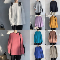 T-shirt Youth fashion routine S,M,L,XL,2XL Zijun Long sleeves Crew neck easy Other leisure autumn teenagers routine tide 2019 Solid color