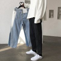 Jeans Youth fashion Zijun M,L,XL,2XL Black, light blue, blue, black plush, light blue plush, blue plush, > Click to check the size < (select the color above) No bullet Regular denim trousers Other leisure autumn teenagers Medium low back Slim feet tide 2020 Little straight foot zipper washing