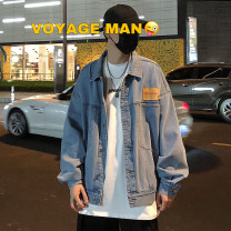 Jacket Zijun Youth fashion Blue, > Click to view size < (select color in front) M,L,XL routine easy Other leisure autumn Long sleeves Wear out Lapel tide teenagers routine Single breasted 2020 Cloth hem washing Closing sleeve Solid color Denim cotton