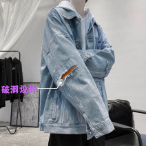 Jacket Zijun Youth fashion Black, blue, > Click to view size < (select color in front) M,L,XL,2XL routine easy Other leisure autumn Long sleeves Wear out Lapel tide teenagers routine Single breasted 2020 other washing Loose cuff other