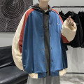 Jacket Zijun Youth fashion Black, blue, > Click to view size < (select color in front) M,L,XL routine easy Other leisure autumn Long sleeves Wear out Baseball collar tide male routine Single breasted 2020 Rib hem No iron treatment routine Solid color polyester fiber Color matching Side seam pocket