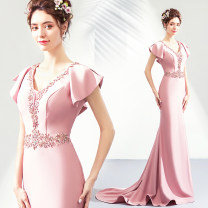 Dress / evening wear Wedding ceremony company annual meeting performance XS S M L XL XXL XXXL Pink sexy longuette middle-waisted Spring of 2019 Trailing Deep collar V zipper 18-25 years old Short sleeve Diamond ornament Bridal Beauty Flying sleeve Polyethylene terephthalate (polyester) 100%