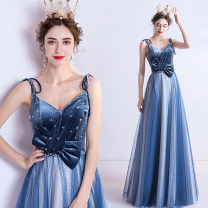 Dress / evening wear Wedding adult party company annual meeting performance XS S M L XL XXL XXXL blue sexy longuette middle-waisted Spring 2020 Self cultivation Sling type Bandage 18-25 years old Sleeveless Diamond ornament Bridal Beauty Polyethylene terephthalate (polyester) 100% 96% and above