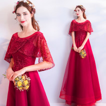 Dress / evening wear Wedding ceremony company annual meeting performance XS S M L XL XXL XXXL gules grace longuette middle-waisted Spring of 2019 Fall to the ground One shoulder Bandage 18-25 years old 9260A elbow sleeve Nail bead Bridal Beauty Polyethylene terephthalate (polyester) 100% Pearl
