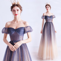 Dress / evening wear Wedding adult party company annual meeting performance XS S M L XL XXL XXXL blue fashion longuette middle-waisted Winter of 2019 Fall to the ground One shoulder Bandage 18-25 years old Short sleeve Diamond ornament Bridal Beauty Polyethylene terephthalate (polyester) 100%