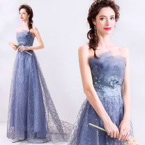 Dress / evening wear Company annual meeting performance XS S M L XL XXL XXXL blue Korean version longuette middle-waisted Spring of 2019 Self cultivation Chest type Bandage 18-25 years old Sleeveless Embroidery Bridal Beauty Polyethylene terephthalate (polyester) 100% Pure e-commerce (online only)