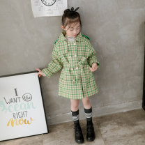 woolen coat Black, green, lotus root 110cm,120cm,130cm,140cm,150cm female Other / other Cotton and hemp There are models in the real shooting nothing leisure time routine winter Single breasted lattice Lapel and pointed collar F91204