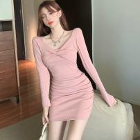 Dress Spring 2021 Pink, black S,M,L Short skirt singleton  Long sleeves commute V-neck High waist Solid color One pace skirt routine Type H fold