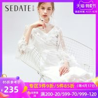 Dress Autumn of 2019 Ben White (Beige) S M L Mid length dress singleton  elbow sleeve commute Half high collar High waist Solid color Socket Big swing routine 25-29 years old Type X Sedate lady Patched cloth and wood ear stitching used zipper More than 95% nylon Polyamide fiber (nylon) 100%