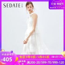 Dress Autumn of 2019 Ben White (Beige) S M L Middle-skirt singleton  Sleeveless commute Crew neck High waist Solid color zipper One pace skirt routine 25-29 years old Type X Sedate lady Cut out zipper More than 95% nylon Polyamide fiber (nylon) 100%