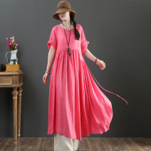 Dress Summer 2021 Average size longuette singleton  Long sleeves commute Crew neck Loose waist Solid color Three buttons Big swing routine 40-49 years old Type X literature Button, pocket More than 95% hemp