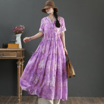 Dress Spring 2021 violet M,L,XL longuette singleton  Short sleeve commute Crew neck Loose waist Decor Socket Big swing routine Others 40-49 years old Type X Print, lace up More than 95% hemp