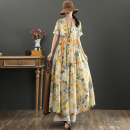 Dress Summer 2021 yellow M,L,XL longuette singleton  Short sleeve commute V-neck Loose waist Socket Big swing routine Others 40-49 years old Type X literature Pocket, print, stitching, lace up More than 95% hemp