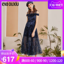 Dress Spring of 2019 Blue Decor S M L XL Mid length dress singleton  Sleeveless commute Crew neck High waist zipper A-line skirt Others 25-29 years old EVA ouxii lady Bandage mesh lace More than 95% polyester fiber Polyester 100% Same model in shopping mall (sold online and offline)
