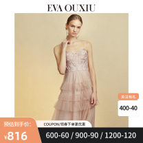 Dress Autumn of 2019 Pink S M L XL longuette singleton  Sleeveless commute V-neck High waist Solid color zipper Cake skirt other camisole 30-34 years old Type A EVA ouxii lady Gauze lace 937AQ7730 More than 95% polyester fiber Polyester 100% Same model in shopping mall (sold online and offline)