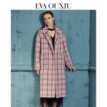 woolen coat Autumn of 2019 155/80A/S 160/84A/M 165/88A/L 170/92A/XL Pink wool 51% (inclusive) - 70% (inclusive) Medium length Long sleeves commute double-breasted routine tailored collar lattice Straight cylinder lady EVA ouxii 30-34 years old Same model in shopping mall (sold online and offline)