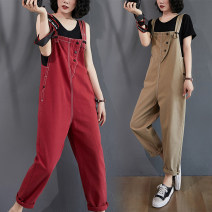 Jeans Summer 2021 Khaki, red S [recommended below 100 kg], m [recommended 100-115 kg], l [recommended 115-130 kg], XL [recommended 130-145 kg], 2XL [recommended 145-160 kg] Ninth pants High waist rompers Thin money Thin denim 0826P 31% (inclusive) - 50% (inclusive)