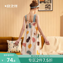 Nightdress A good companion S M L XL Sweet camisole pajamas Middle-skirt summer Geometric pattern youth cotton printing 81% (inclusive) - 95% (inclusive) Knitted cotton fabric 200g and below Summer 2020 Cotton 95% polyurethane elastic fiber (spandex) 5%