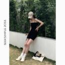 Dress Summer 2020 black S,M,L Middle-skirt singleton  Sleeveless street High waist camisole Type H 81% (inclusive) - 90% (inclusive) knitting cotton Sports & Leisure