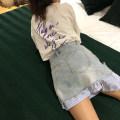 skirt Summer of 2019 S,M,L,XL blue Short skirt street High waist A-line skirt Type A Denim cotton Sports & Leisure