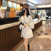 Dress Autumn of 2019 White, black Average size other High waist shirt sleeve